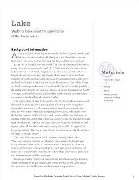 Lake: Geographic Terms Mini-Book - Printable Worksheet