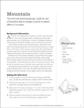 Mountain: Geographic Terms Mini-Book - Printable Worksheet
