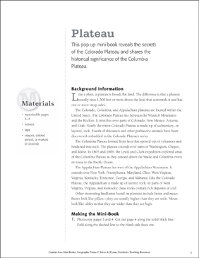Plateau: Geographic Terms Mini-Book - Printable Worksheet