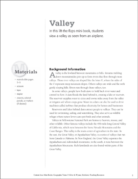 Valley: Geographic Terms Mini-Book - Printable Worksheet
