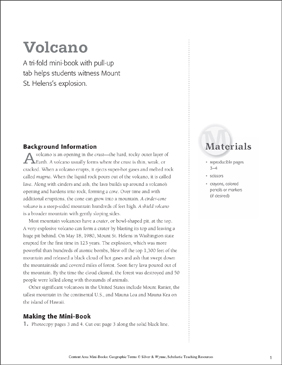 Volcano: Geographic Terms Mini-Book - Printable Worksheet