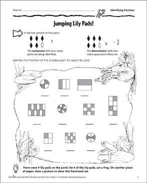 Jumping Lilypads: Identifying Fractions - Printable Worksheet