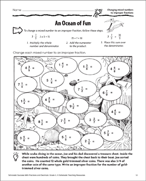 Ocean of Fun: Changing Mixed Numbers to Improper Fractions - Printable Worksheet