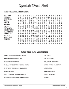 photo about Spanish Word Searches Printable identified as Mexico Functions - Term Identify and Info Printable Term
