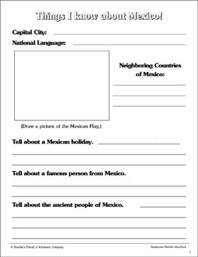 Things I Know About Mexico - Printable Worksheet