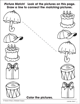 Familiar Objects: Picture-Matching Page - Printable Worksheet