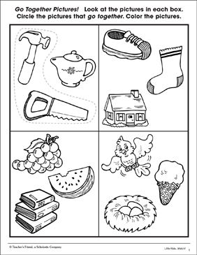 Identifying Relationships: Picture-Matching Page (Sheet 3) - Printable Worksheet