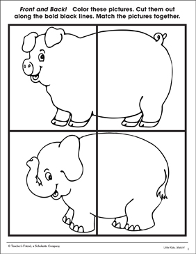 Front and Back: Pig and Elephant (Identifying Relationships Page) - Printable Worksheet