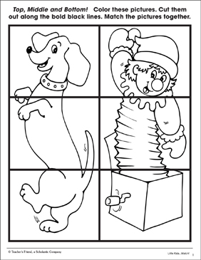 Top, Middle and Bottom: Dog & Jack-In-The-Box (Identifying Relationships Page) - Printable Worksheet