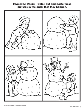 Building a Snowman: Sequence Cards - Printable Worksheet