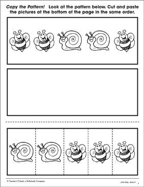 Copy the Pattern: Bumblebees and Snails - Printable Worksheet