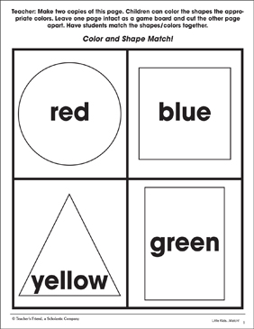 Color and Shape Match: Practice Page - Printable Worksheet