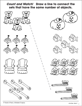 Count and Match: Matching Sets (Sheet 2) - Printable Worksheet