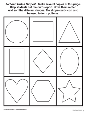 Sort and Match Shapes: Pattern Cards - Printable Worksheet