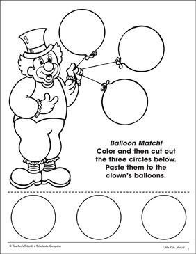 Balloon Match: Color and Shape Matching - Printable Worksheet