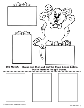Gift Match: Color and Shape Matching - Printable Worksheet