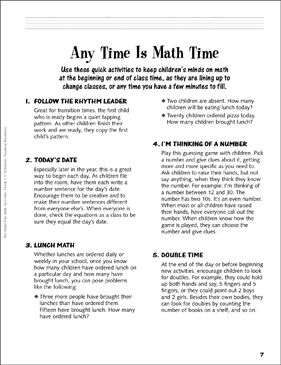 Any Time Is Math Time: Transition Time Activities, Grade 2 - Printable Worksheet