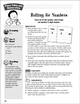 Rolling for Numbers: Place Value and Numeration Activity - Printable Worksheet