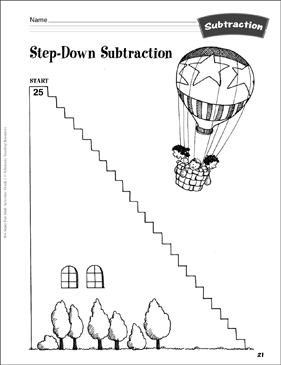 Step-Down Subtraction (counting back): Subtraction Activity - Printable Worksheet