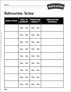 Subtraction Action: Subtraction Activity - Printable Worksheet