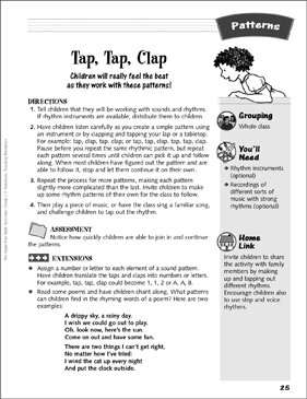 Tap, Tap, Clap: Rhythm-Pattern Activity - Printable Worksheet