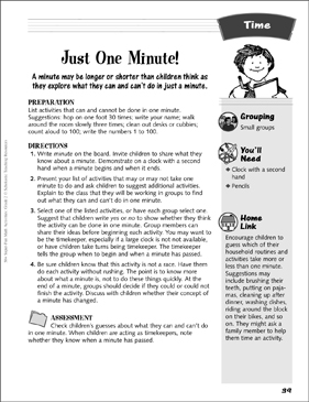 Just One Minute!: Time Activity - Printable Worksheet