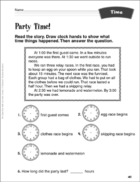 Party Time!: Time Activity - Printable Worksheet
