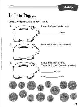 In This Piggy…: Money Activity - Printable Worksheet