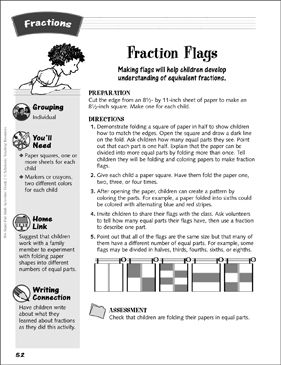 Fraction Flags: Folding Fractions Activity - Printable Worksheet