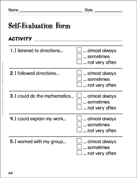 Self-Evaluation Form: Assessing Student Math Learning - Printable Worksheet