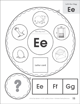 Letter Ee: Lift-the-Flap Alphabet - Printable Worksheet