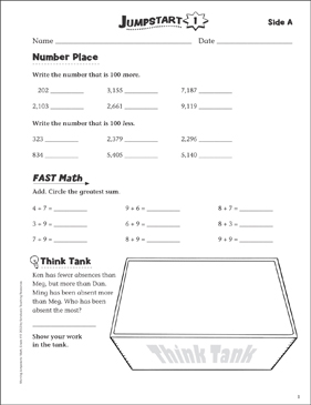 Independent Practice: Grade 4 Math Jumpstart 1 - Printable Worksheet