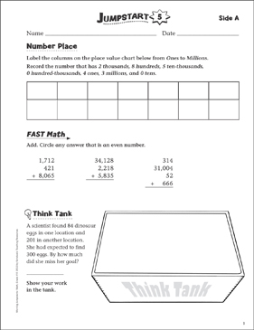 Independent Practice: Grade 4 Math Jumpstart 5 - Printable Worksheet