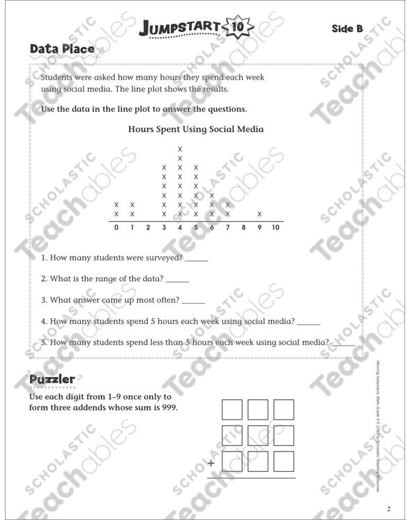 Independent Practice: Grade 4 Math Jumpstart 10 | Printable Skills ...