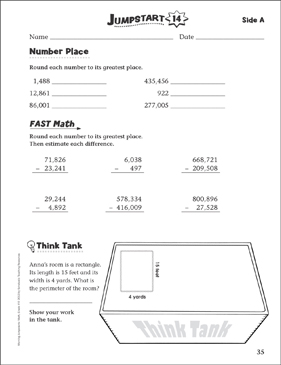 Independent Practice: Grade 4 Math Jumpstart 14 - Printable Worksheet