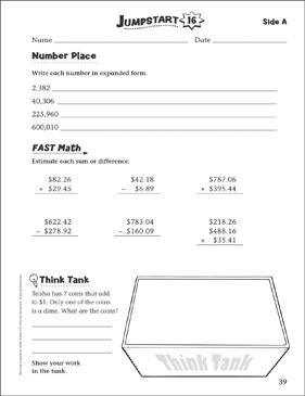 Independent Practice: Grade 4 Math Jumpstart 16 - Printable Worksheet