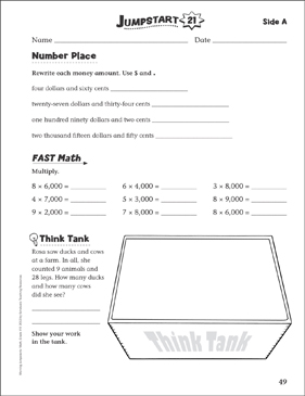 Independent Practice: Grade 4 Math Jumpstart 21 - Printable Worksheet