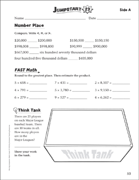 Independent Practice: Grade 4 Math Jumpstart 23 - Printable Worksheet