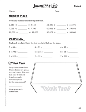 Independent Practice: Grade 4 Math Jumpstart 24 - Printable Worksheet