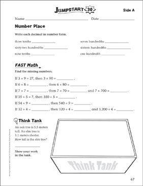 Independent Practice: Grade 4 Math Jumpstart 30 - Printable Worksheet