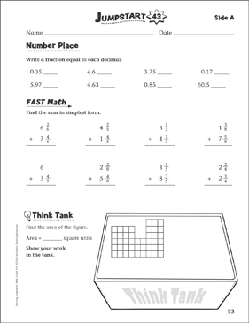 Independent Practice: Grade 4 Math Jumpstart 43 - Printable Worksheet