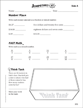Independent Practice: Grade 4 Math Jumpstart 47 - Printable Worksheet