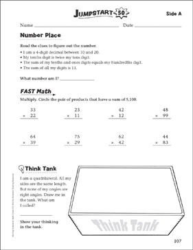 Independent Practice: Grade 4 Math Jumpstart 50 - Printable Worksheet