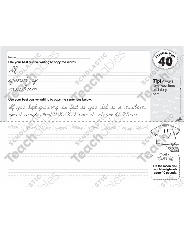 cursive practice 40 wacky facts printable skills sheets Letter Writing 1700S see inside image
