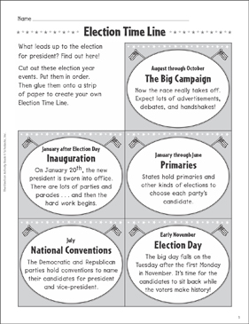 Election Time Line: Election Activities - Printable Worksheet