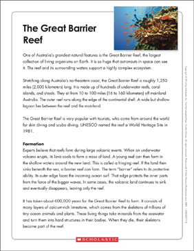The Great Barrier Reef: Text & Organizer - Printable Worksheet