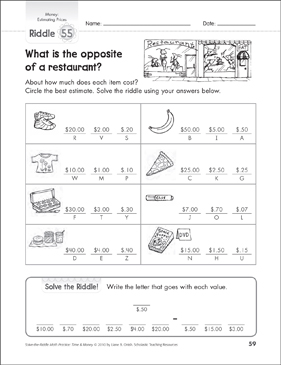 estimating prices money math riddles printable number puzzles and skills sheets. Black Bedroom Furniture Sets. Home Design Ideas