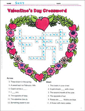 Influential image for valentine's day crossword puzzle printable