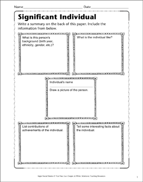Significant Individual: Character Study - Printable Worksheet