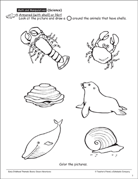 Armored (with Shell) or Not Game: Ocean Activity - Printable Worksheet